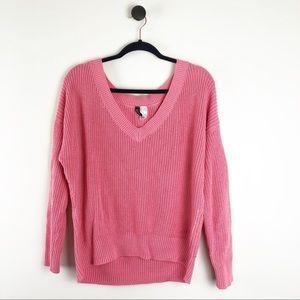 H&M V-Neck Chunky Knit Sweater Pink Size Medium